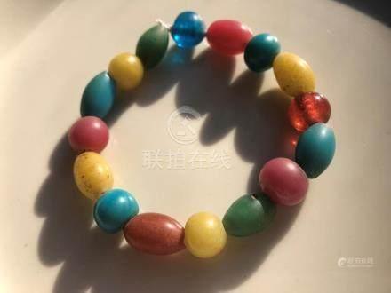 Antique Peking Glass Beads Bracelet, Qing Dynasty