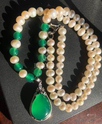 Natural Pearl Necklace with Green Stone Silver Pendant