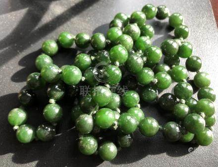 Natural Green Jade Beads Necklace