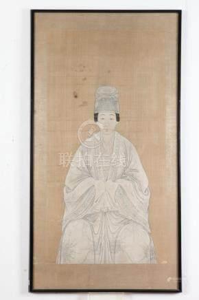 PAIR KOREAN ANCESTOR PORTRAITS, - 40 1/2 in. x 21 in.