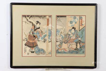 TWO JAPANESE COLOR WOODBLOCK PRINTS.