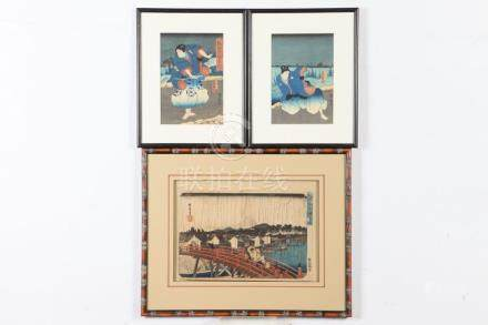 SIX ASSORTED JAPANESE COLOR WOODBLCOKC PRINTS BY VARIOUS ART