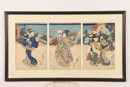 "UTAGAWA KUNISADA (Japanese, 1786-1865). ""TRIPTYCH GEISHA"", C"