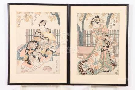"UTAGAWA TOYOKUNI (Japanese, 1769-1825). ""SAMURAI"", ""GEISHA"","