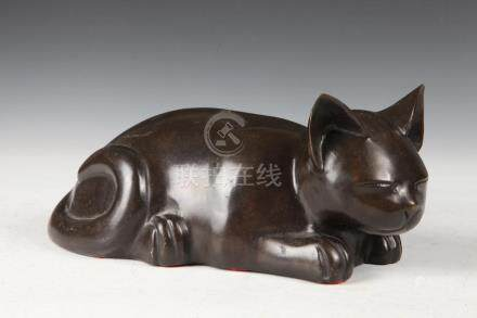 JAPANESE BRONZE FIGURE OF CAT. - 10 3/4 in. long.