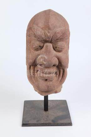 JAPANESE SANDSTONE HEAD. - 18 in.high.