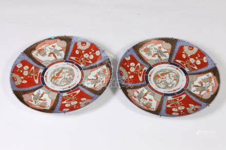 PAIR IMARI CHARGERS, late 19th-early 20th century. - D: 18 1