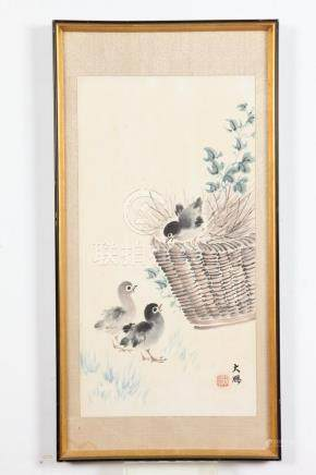 DA PENG (Chinese , 20th Century). CHICKS AND BASKET, Ink and