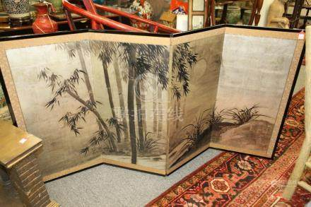 JAPANESE PAINTED SILVER LEAF FOUR-PANEL TABLE SCREEN DEPICTI