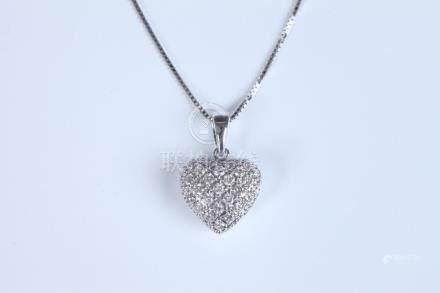 14K WHITE GOLD AND DIAMOND HEART SHAPE PENDANT ON CHAIN, - P