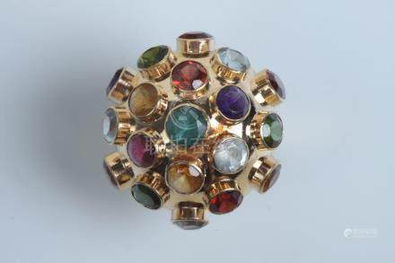"""18K YELLOW GOLD AND COLORED GEMSTONE """"ATOMIC"""" DOME RING. - R"""
