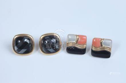TWO PAIRS 14K YELLOW GOLD AND GEMSTONE CONTEMPORARY DESIGN S