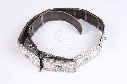 AMERICAN SOUTHWEST INDIAN SILVER AND TURQUOISE CONCHA BELT.