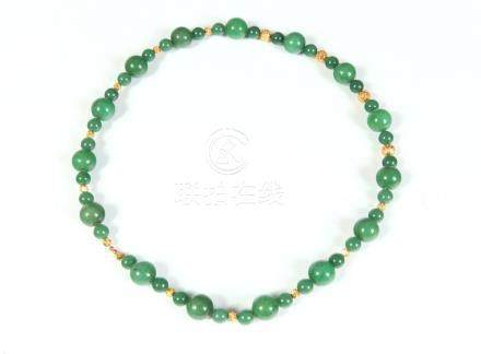 ENDLESS-STRAND GREEN JADE BEAD NECKLACE WITH YELLOW GOLD BAL