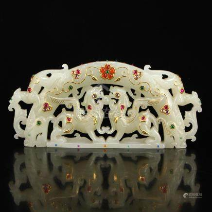 Hetian Jade Inlay Gold Wire & Gems Lucky Beasts Statue