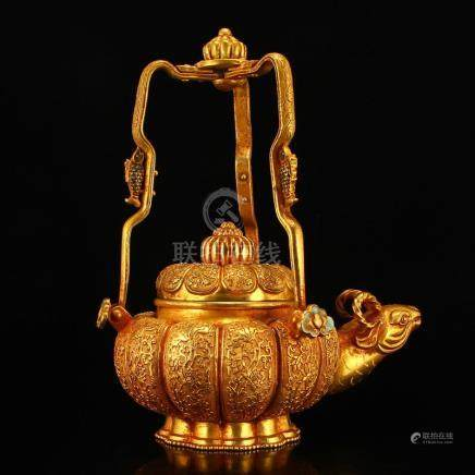 Gilt Gold Red Copper Low Relief Sheep Head Teapot