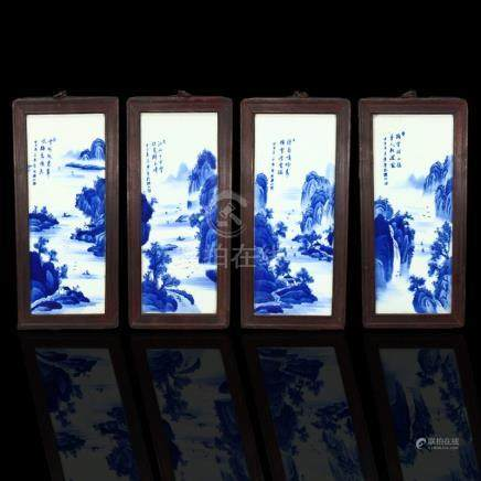 A Set Chinese Blue And White Porcelain Plaque Paintings