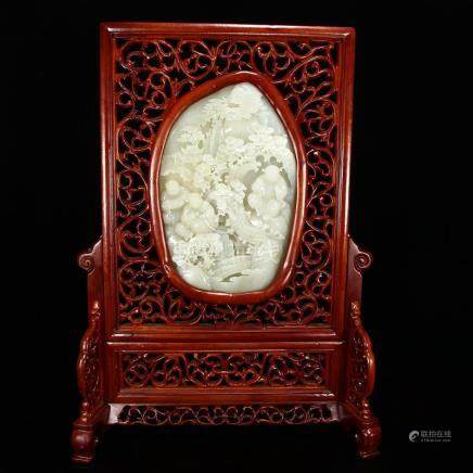 Openwork Chinese Zitan Wood Inlay Hetian Jade Screen