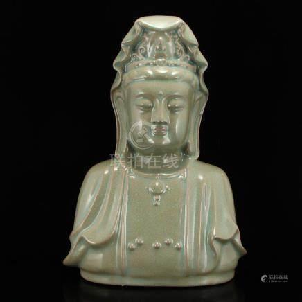 Chinese Ru Kiln Porcelain Kwan-yin Statue