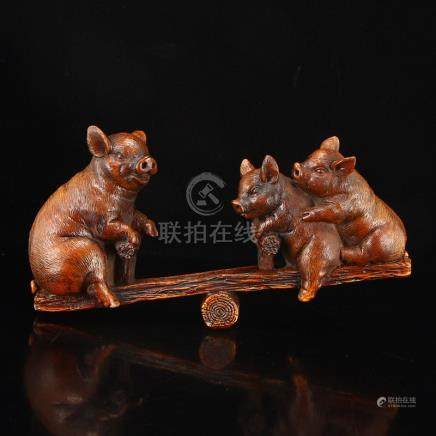 Vintage Chinese Boxwood Wood Statue - Lucky Pigs