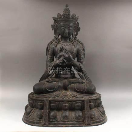 18Kg Tibetan Buddhism Red Copper Amitayus Buddha Statue