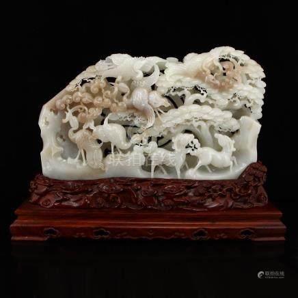 Openwork Chinese Hetian Jade Statue - Cranes & Sheep