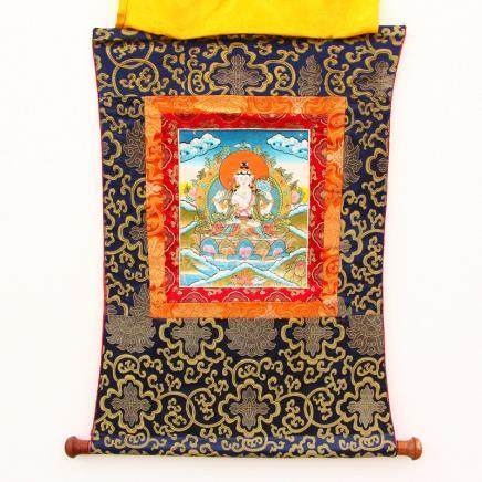 Tibetan Buddhist Hand Drew On Kraft & Silk Thangka