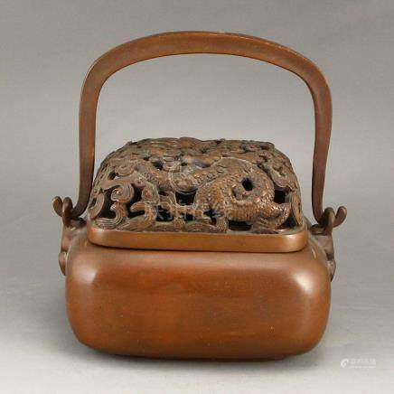 Openwork Chinese Qing Dy Red Copper Handwarmer