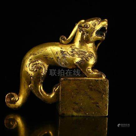 Vintage Chinese Gilt Gold Red Copper Unicorn Seal