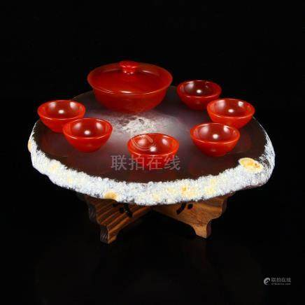 Red Agate Teabowl & Cups w Water Bile Agate Base