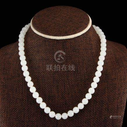 8 MM Chinese White Hetian Jade Beads Necklace