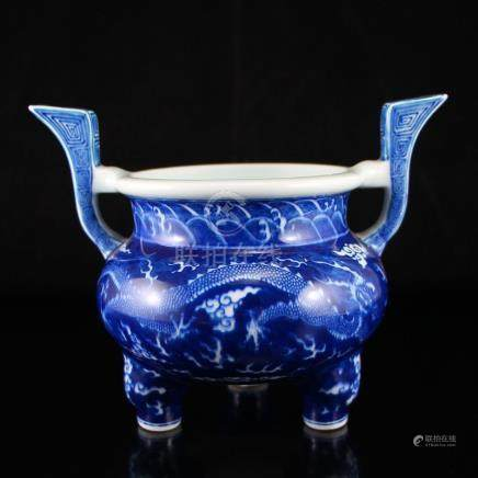 Blue And White Porcelain Double Ears Incense Burner