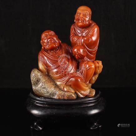 Superb Chinese Shoushan Stone Statue - Buddhism Arhat