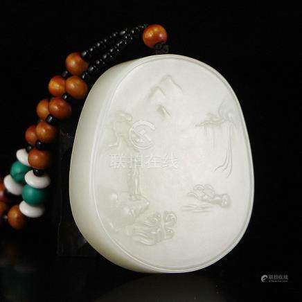 Superb Hetian Jade Pendant - Mountain River Scene