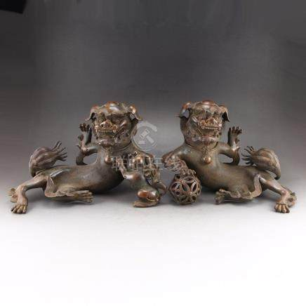 A Pair Vintage Chinese Red Copper Lions Statues