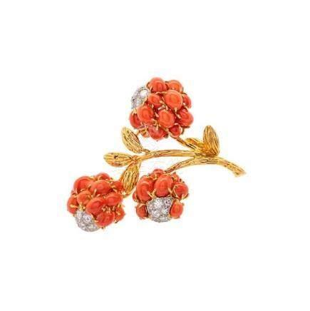 Van Cleef & Arpels Coral & Diamond Flower Brooch