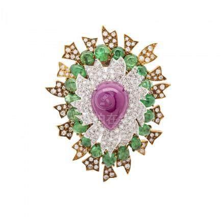 18KT Platinum, Ruby, Diamond & Emerald Brooch