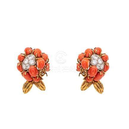 18KT Gold, Coral, Diamond Ear-Clips, Van Cleef & Arpels