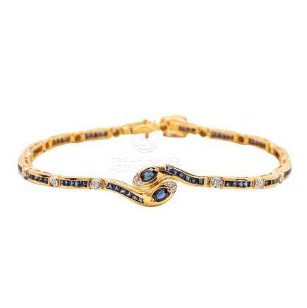 18KT Yellow Gold, Sapphire, and Diamond Bracelet