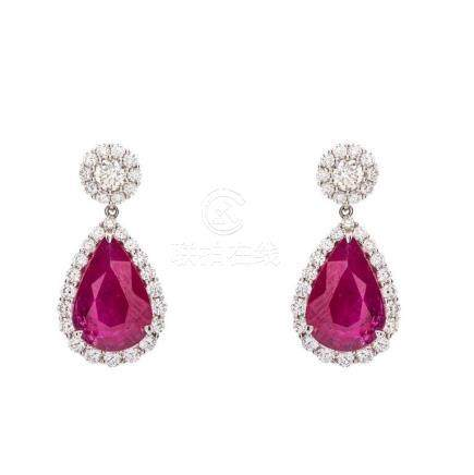 Important Pair of Ruby and Diamond Pendent Earrings