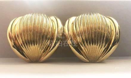 Pair of 18 Karat Yellow Gold Ear Clips