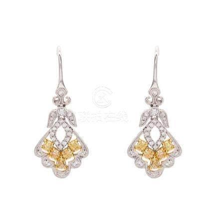 Fine Pair Yellow Diamond and Diamond Earrings