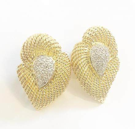 Pair of 18 Karat Gold and Diamond Ear Clips