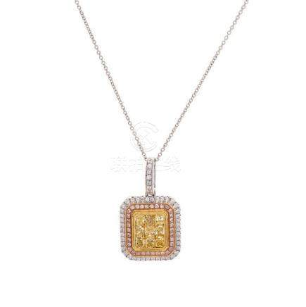 18KT Yellow Diamond and Diamond Necklace