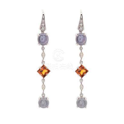 Pair 18kt White Gold, Color-Stone and Diamond Earrings