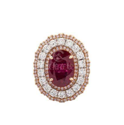 Rare and Fine Natural Ruby and Diamond Ring