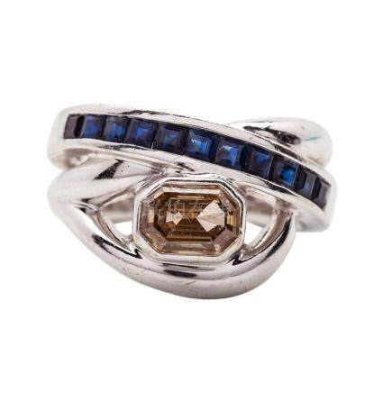 18 KT White Gold, Sapphire and Colored Stone Ring
