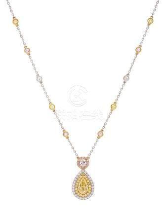Yellow Diamond Drop Necklace