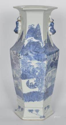 清 青花山水人物六方瓶