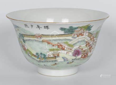 粉彩山水阁楼碗